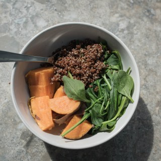 EASY SWEET POTATO, QUINOA, SPINACH BOWL
