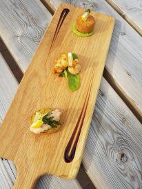 Trio of Fish (tempura prawn, smoked haddock fishcake, smoked salmon pate)
