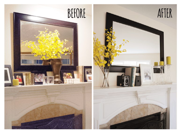 Before & After Fire Place Mantel Make Under