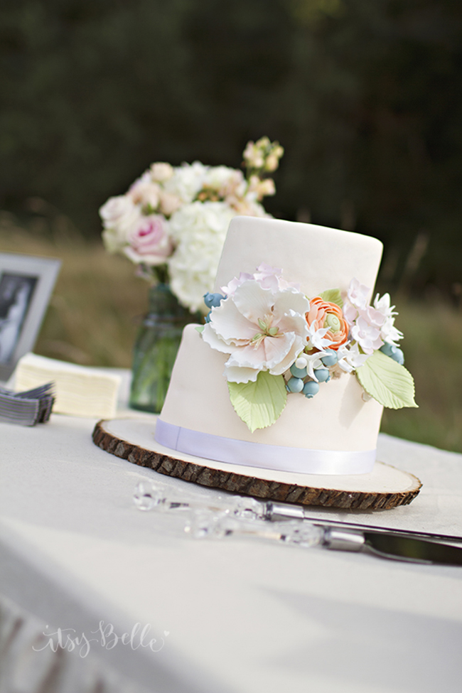 Peach Rustic Floral Fondant Wedding Cake