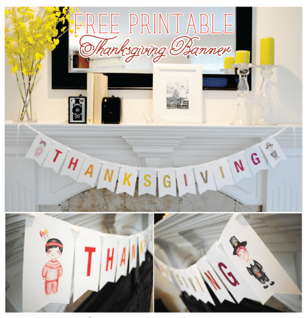 Free Printable Thanksgiving Banner by Itsy Belle