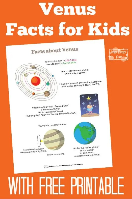Fun Venus Facts for Kids - itsybitsyfun.com