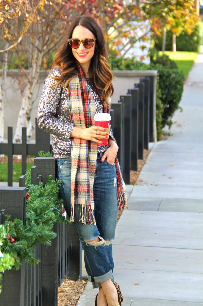 sequin top, boyfriend jeans, holiday outfits