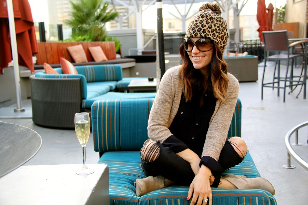 leopard beanie, distressed denim