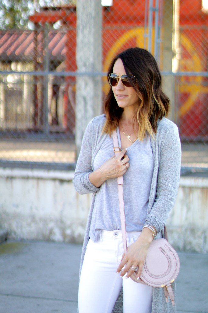 white denim, chloe purse