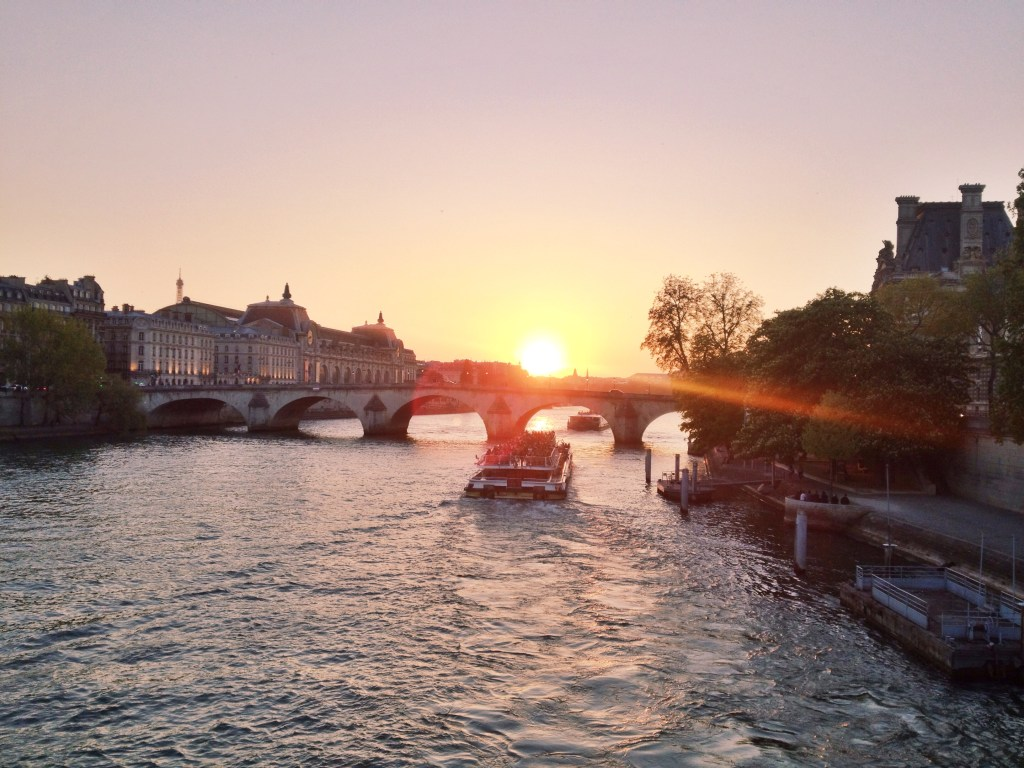 sunset on the seine river, Paris, itsy bitsy indulgences