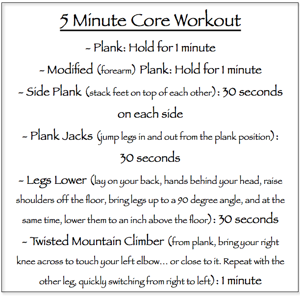 5 minute core workout // itsy bitsy indulgences