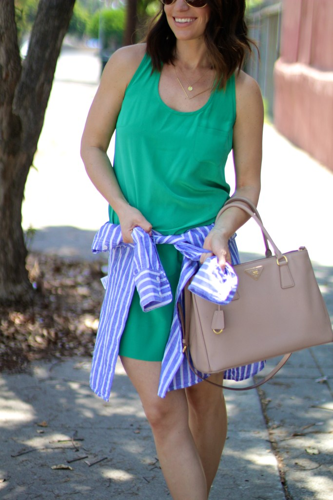 green shift dress with blue boyfriend top, itsy bitsy indulgences