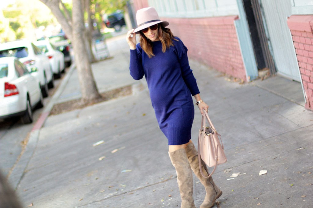 navy sweater dress, over the knee boots, itsy bitsy indulgences