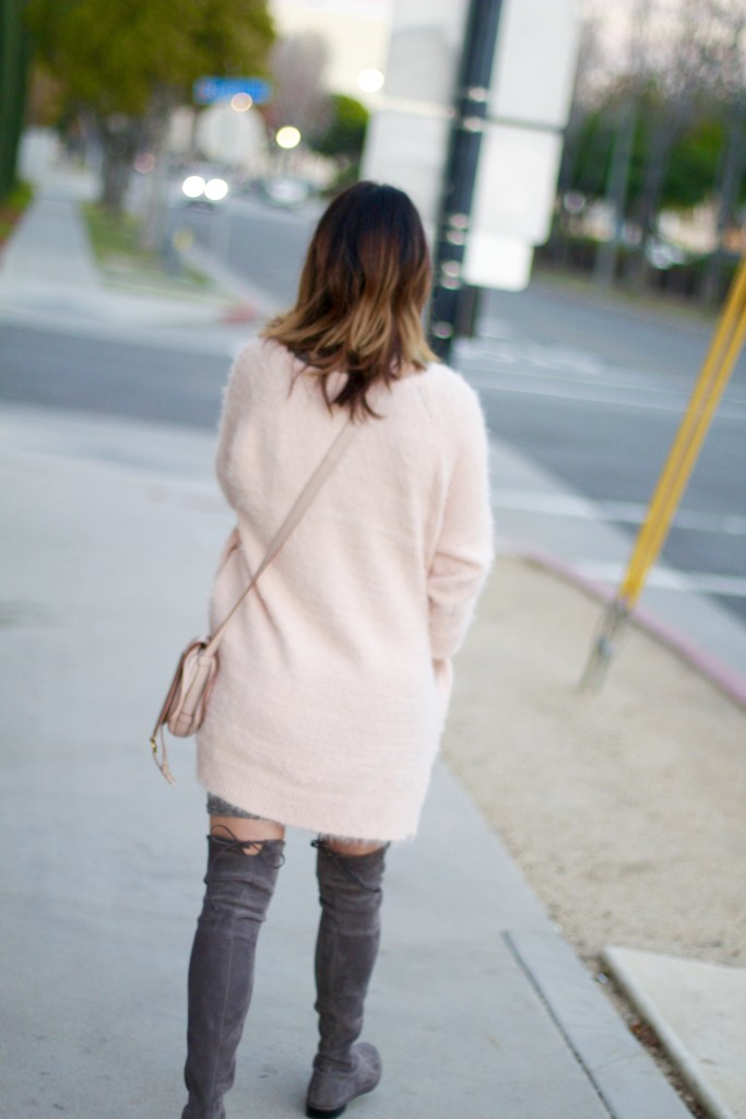 pink fuzzy sweater, itsy bitsy indulgences