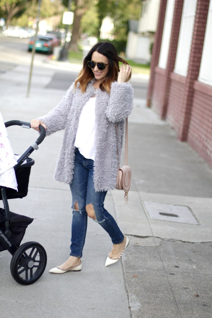 grey fur coat, its bitsy indulgences