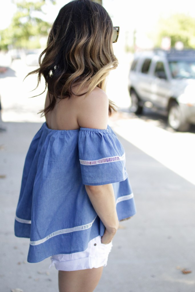 chambray off the shoulder, itsy bitsy indulgences