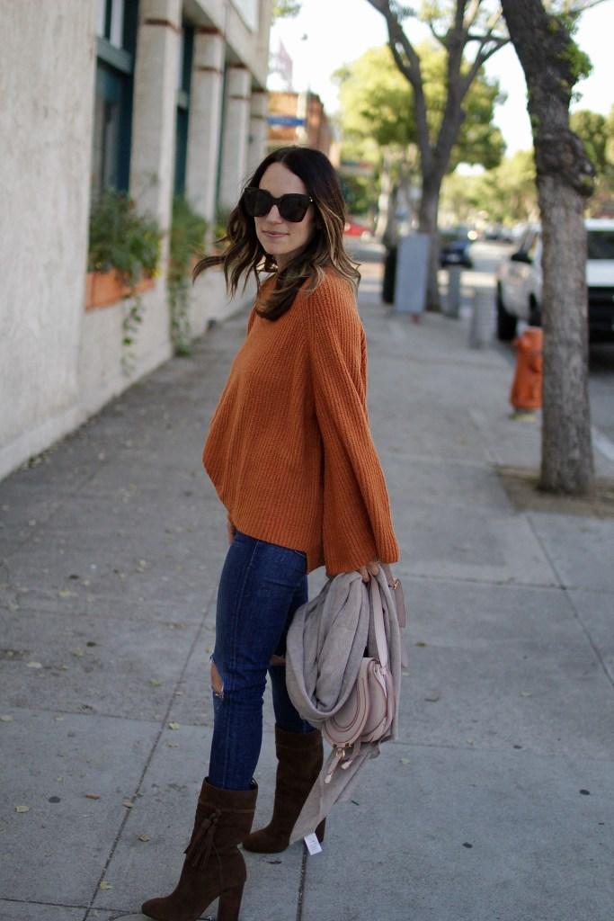 oversized rust sweater, itsy bitsy indulgences