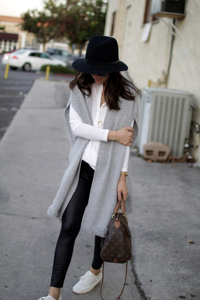 leather leggings + poncho, itsy bitsy indulgences