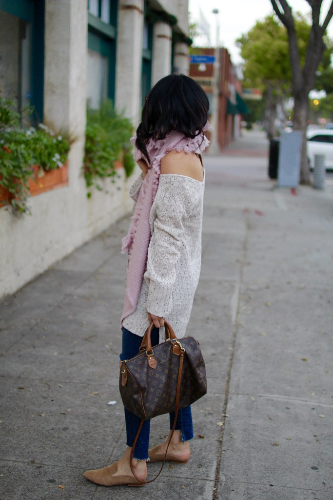 thanksgiving outfit ideas, off the shoulder sweater, itsy bitsy indulgences
