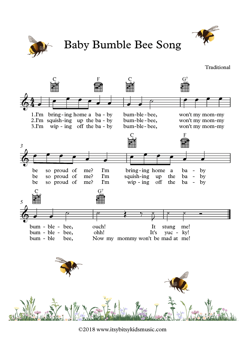 Baby Bumblebee Song Sheet Music With Chords And Lyrics