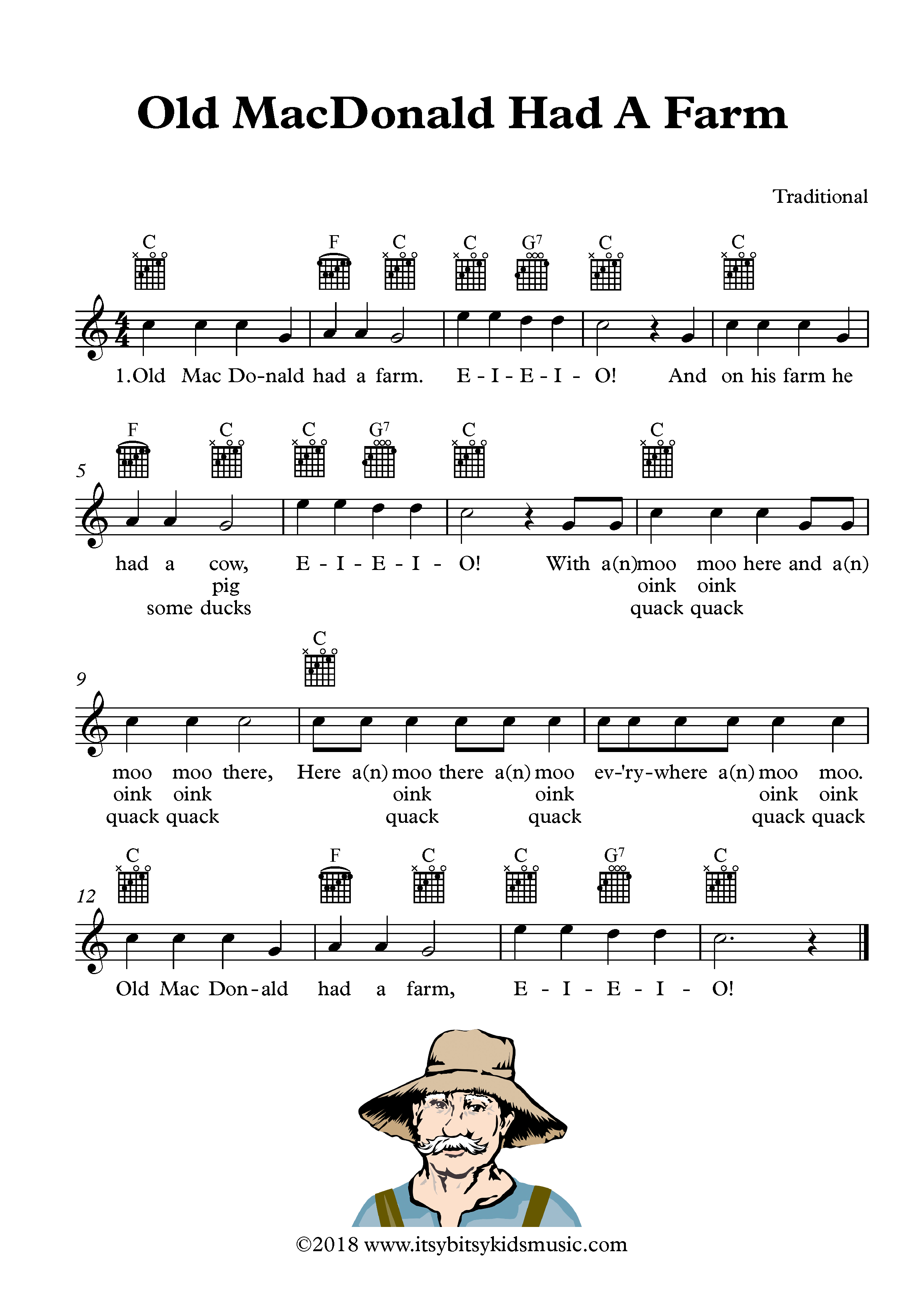 Old Macdonald Had A Farm Sheet Music With Chords And Lyrics