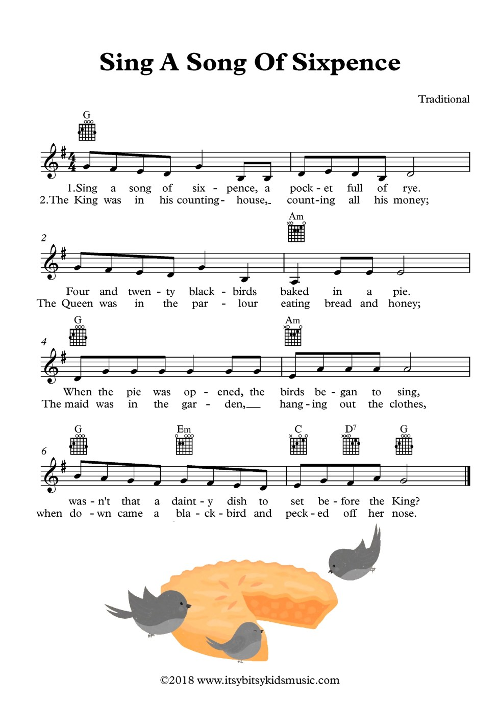 Sing A Song Of Sixpence Sheet Music With Chords And Lyrics