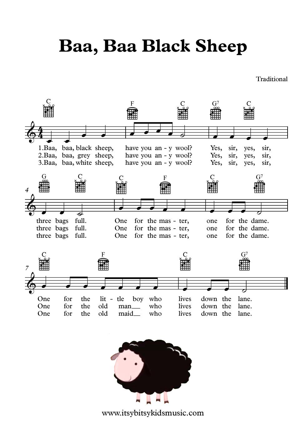 Baa Baa Black Sheep Sheet Music With Chords And Lyrics