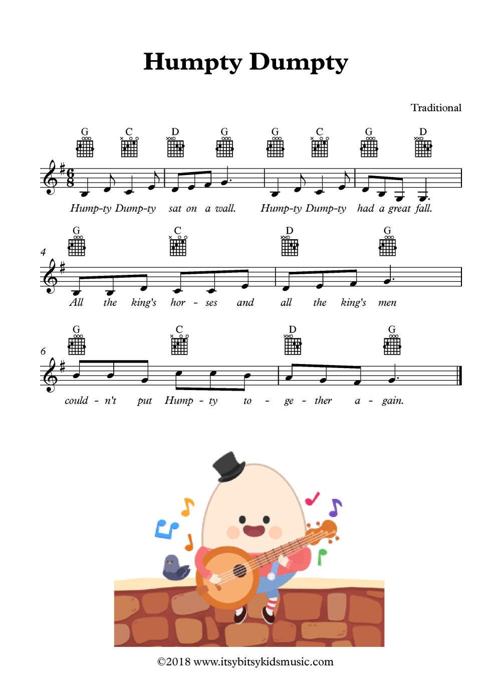 Humpty Dumpty Sat On A Wall Sheet Music With Chords And Lyrics
