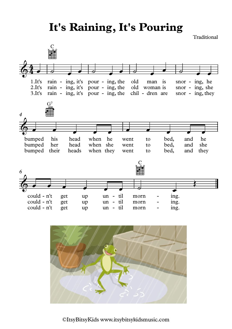 It's Raining, It's Pouring Sheetmusic With Chords And Lyrics