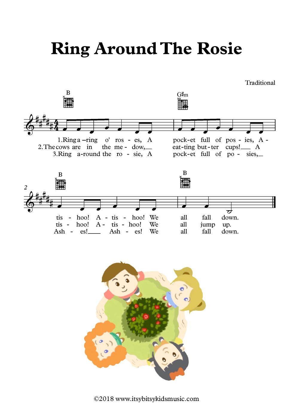 Ringa Ringa Roses Sheet Music With Chords And Lyrics ItsyBitsyKids