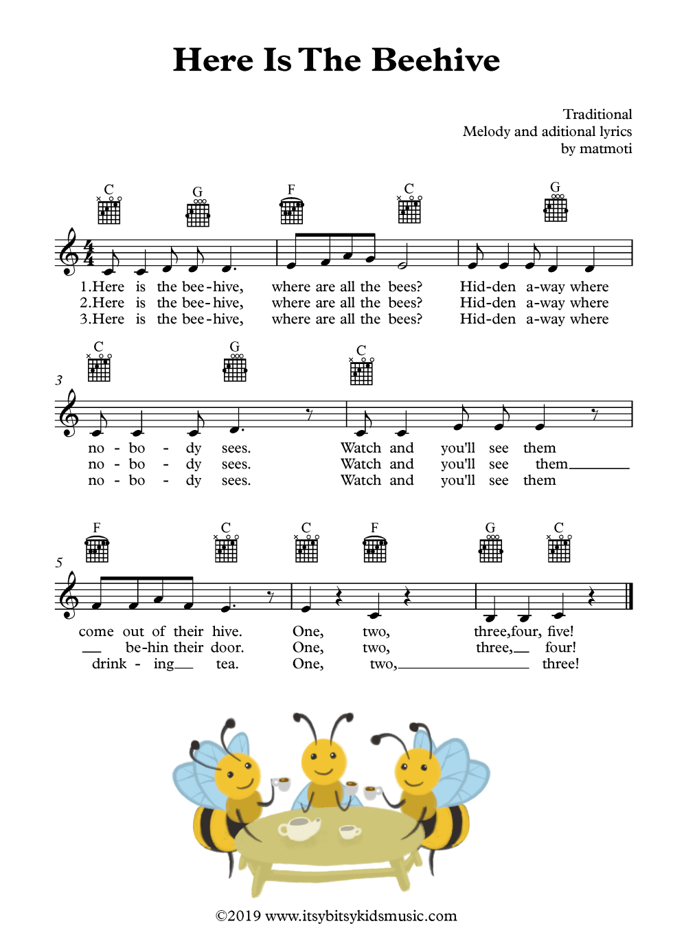 Here is thee beehive sheet music with chords and lyrics