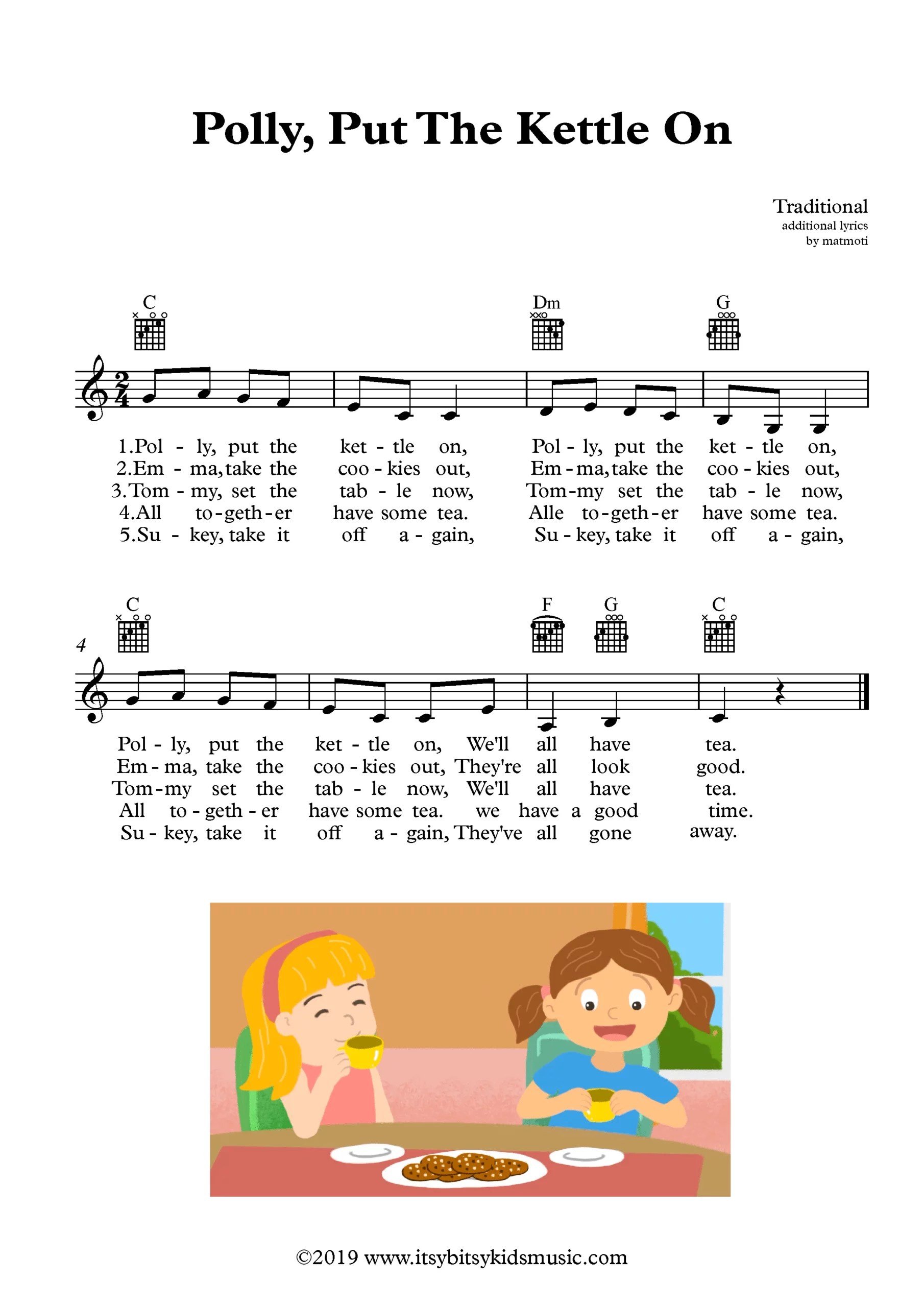 Polly, Put The Kettle On Sheet Music With Chords And Lyrics