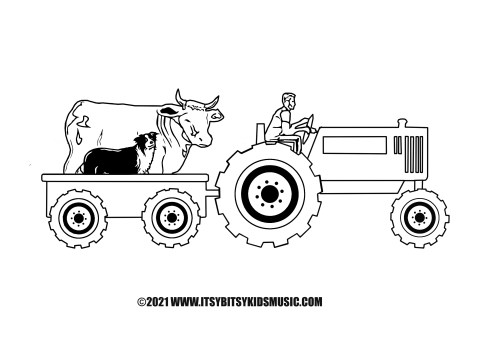 Farmer In The Dell with Tractor and Cow and Dog