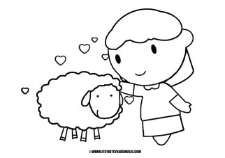 Coloring Page Mary Had A Little Lamb