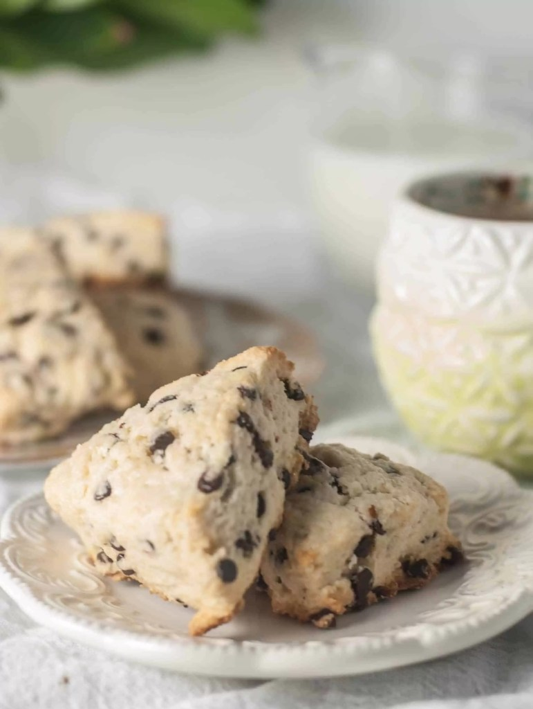 Flakey, buttery, and full of chocolate, these mini chocolate chip cream cheese scones are the perfect breakfast to brighten anyone's morning.