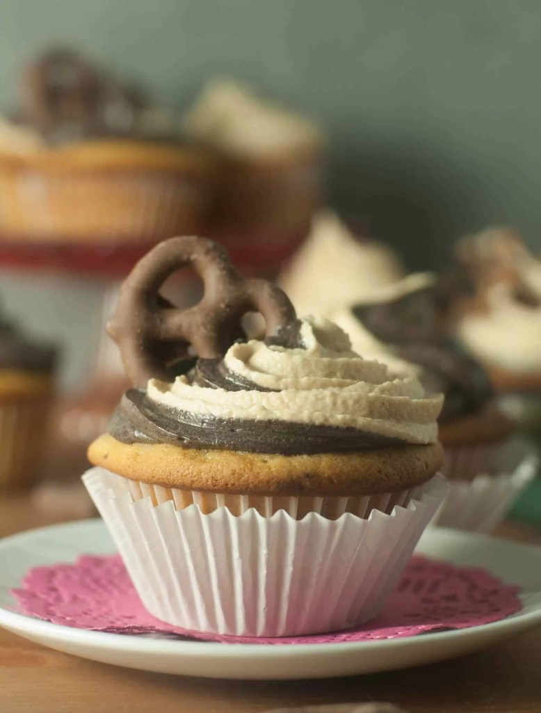 Based on the ice cream, Chubby Hubby cupcakes are a vanilla malt base with pretzels and peanut butter, topped with chocolate and peanut butter frosting.