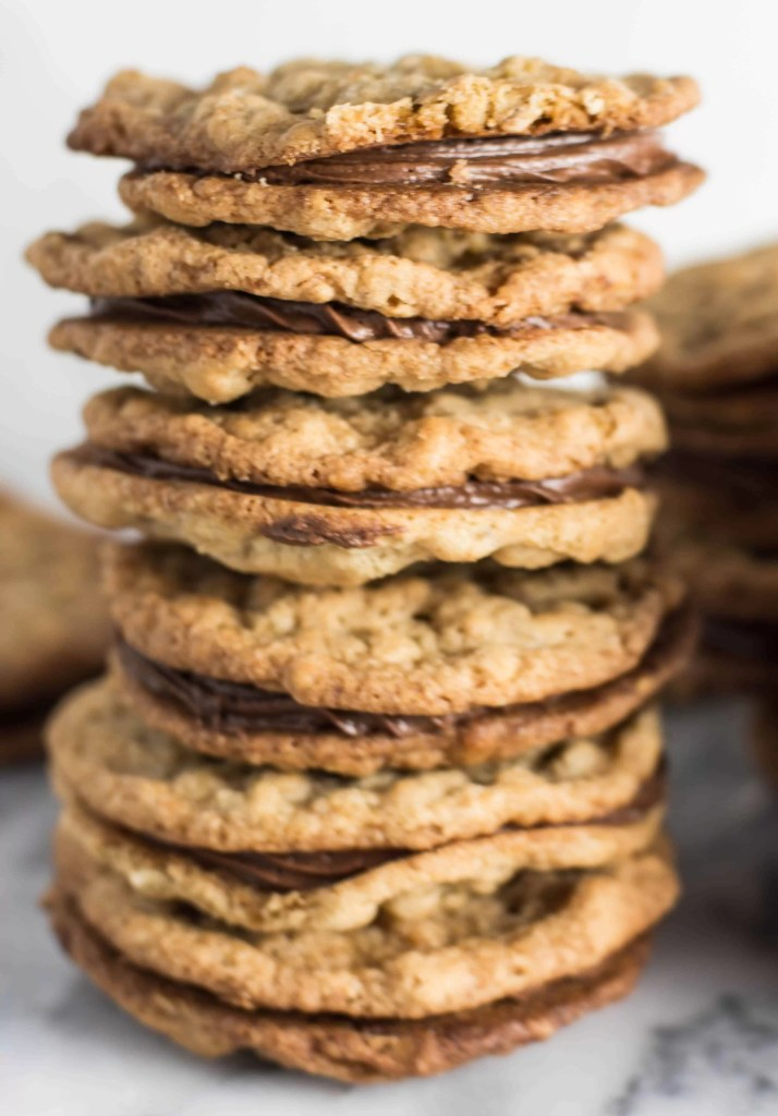 tall stack of peanut butter sandwich cookies