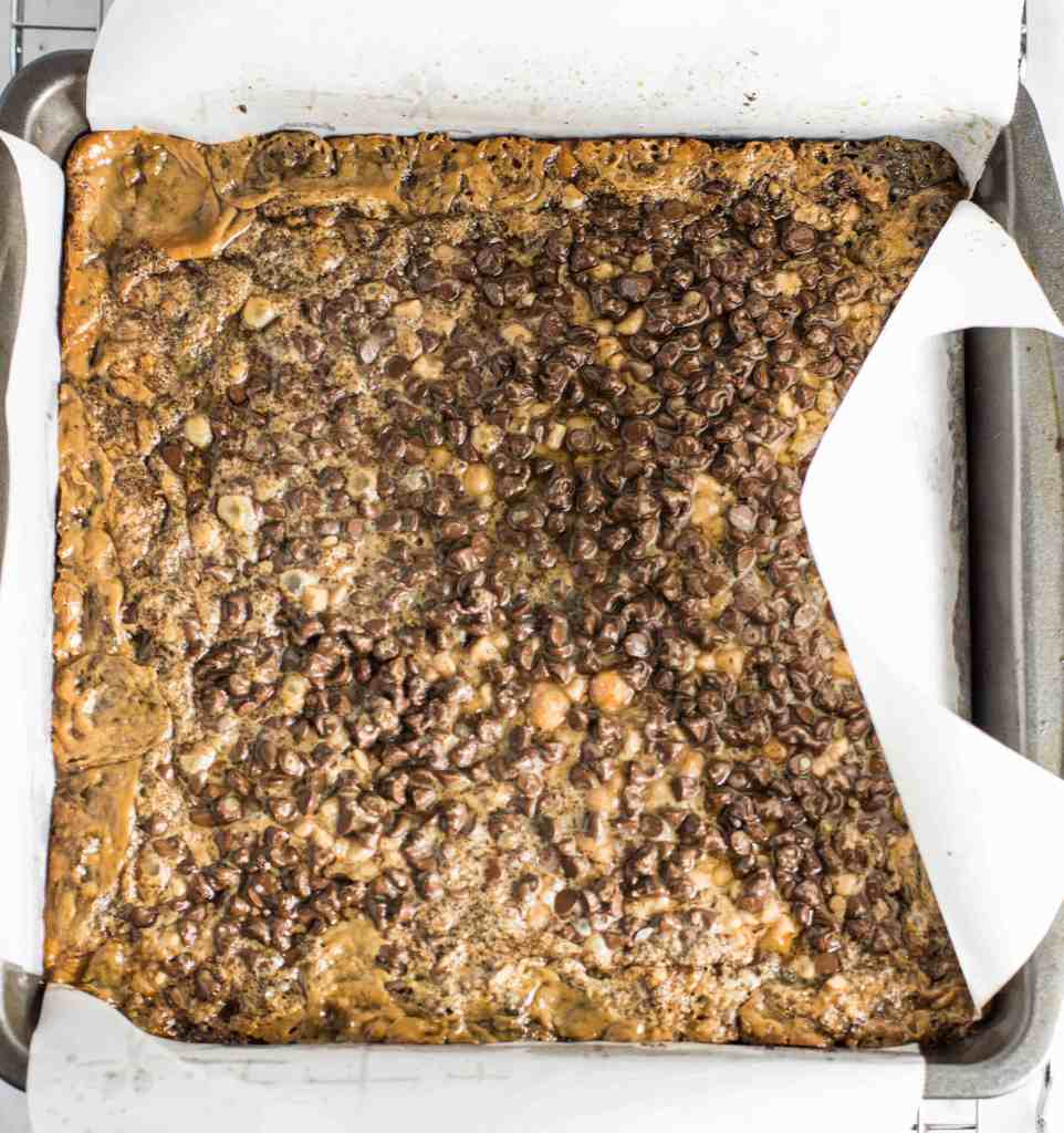 overhead shot of coffee-toffee cookie bars in the pan before they're sliced