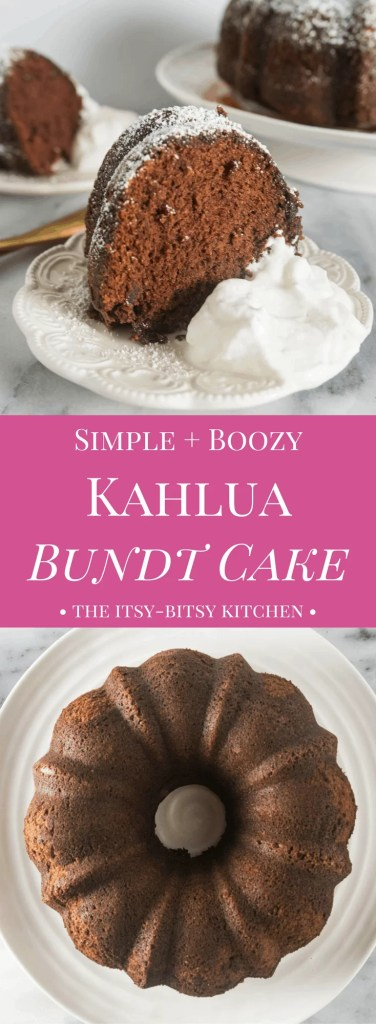 pinterest image for simple + boozy kahlua bundt cake