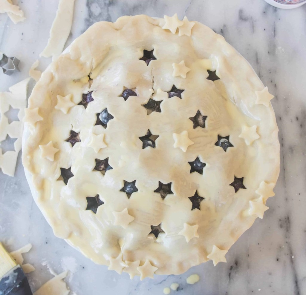 This simple blueberry pie makes a festive summer dessert, perfect for the Fourth of July.