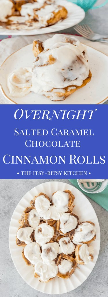 A recipe for homemade overnight salted caramel chocolate cinnamon rolls. They make a decadent breakfast or brunch, perfect for holidays and special occasions.