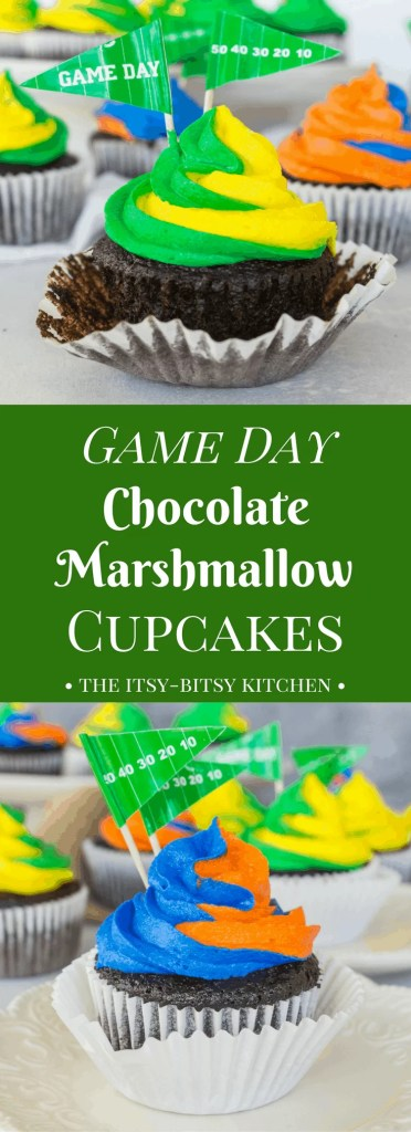 Recipe for one-bowl chocolate cupcakes with fluffy marshmallow frosting--they're tailgating food at its finest. Easy and endlessly customizable, you need to make chocolate marshmallow cupcakes at least once this football season.