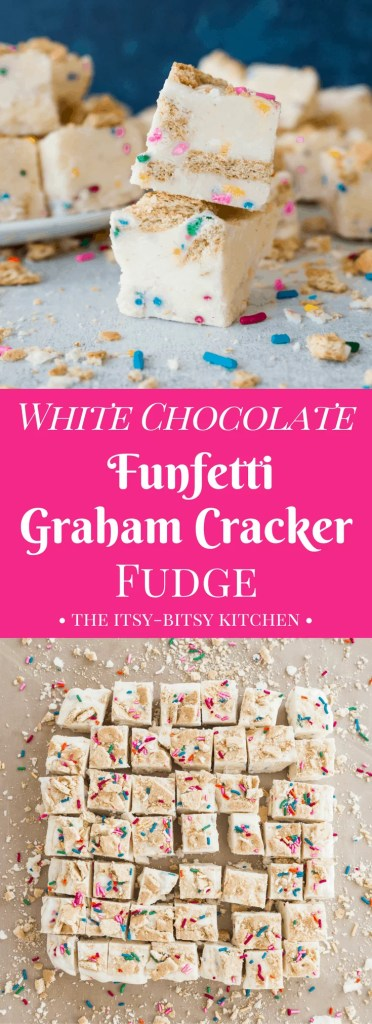 White chocolate funfetti graham cracker fudge is a delicious and easy homemade candy recipe, as easy to make as it is to eat! Perfect for gifts and Christmas cookie trays! No thermometer required!