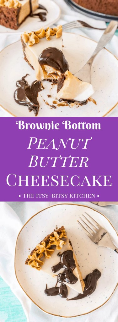 Pinterest image for brownie bottom peanut butter cheesecake with text overlay