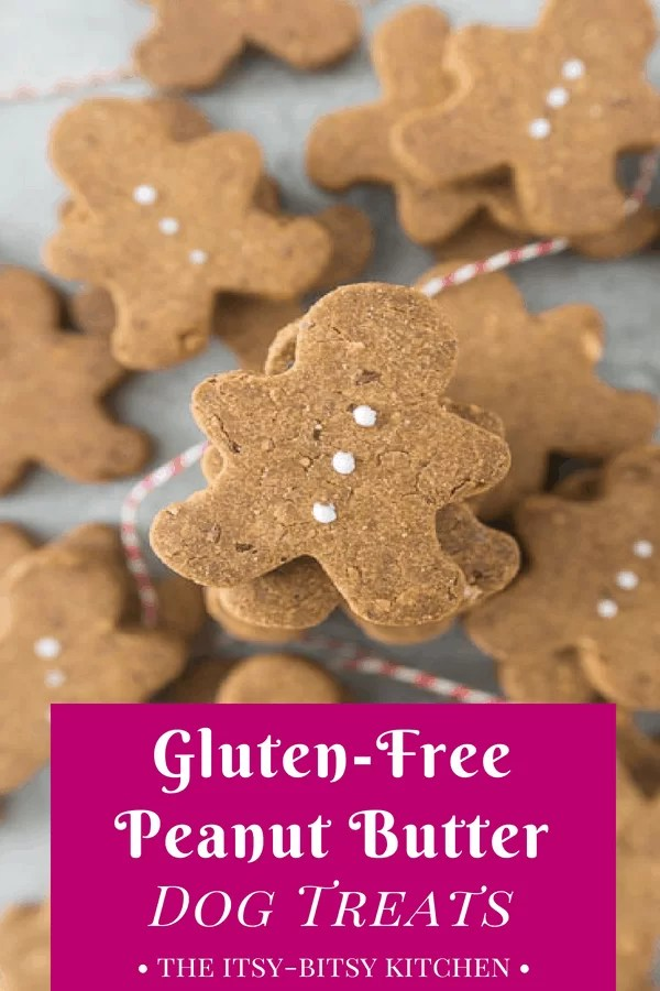 pinterest image for peanut butter gluten-free dog treats with text overlay