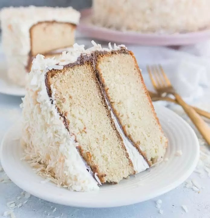 slice of coconut Nutella layer cake on a plate with the rest of the cake in the background