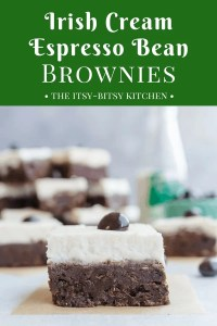 long pin for Irish cream espresso bean brownies with an image of a brownie sitting on a square of parchment with a blurry stack of brownies in the background