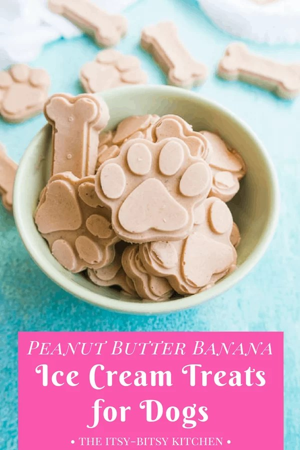 Pinterest image of peanut butter banana ice cream for dogs in a bowl with text overlay