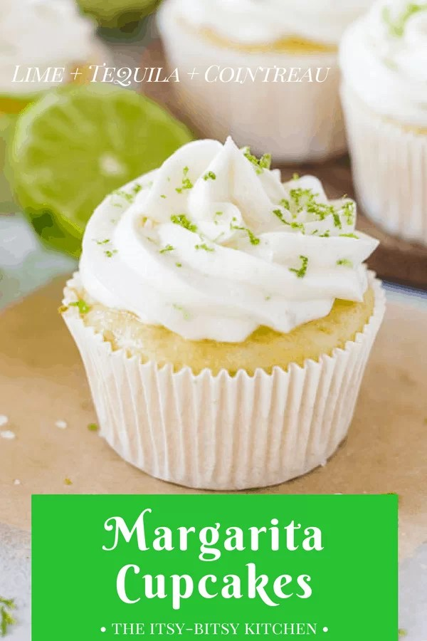 Pinterest image of margarita cupcakes with text overlay