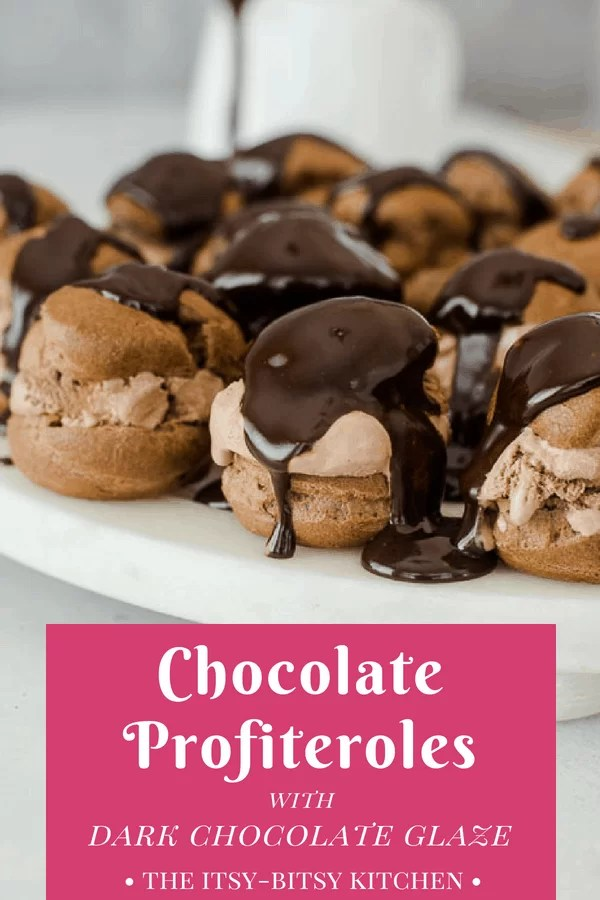 Pinterest image of chocolate profiteroles with text overlay