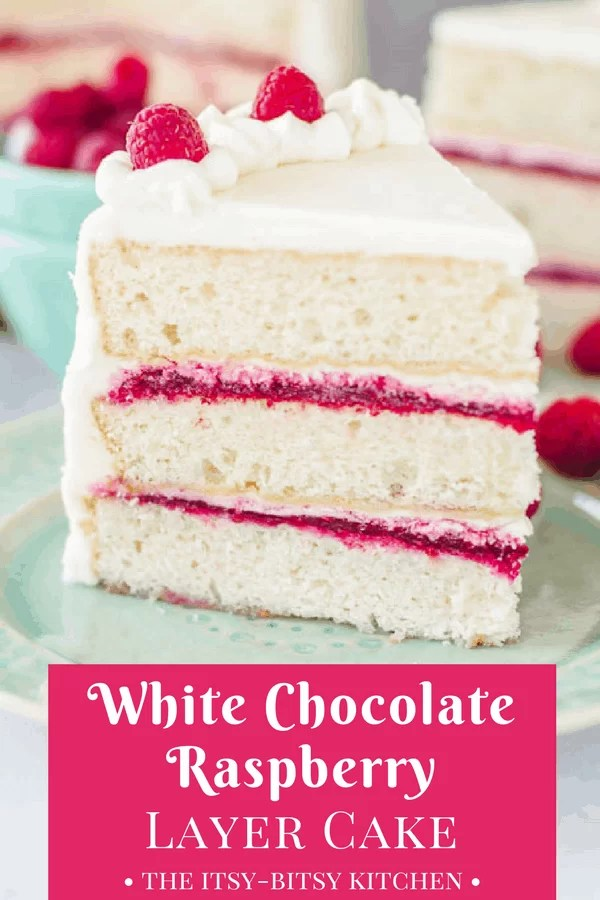 Pinterest image for white chocolate raspberry cake with text overlay