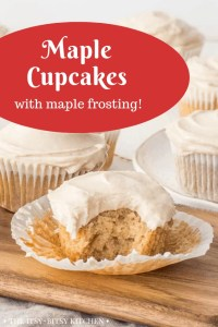 pinterest image for maple cupcakes