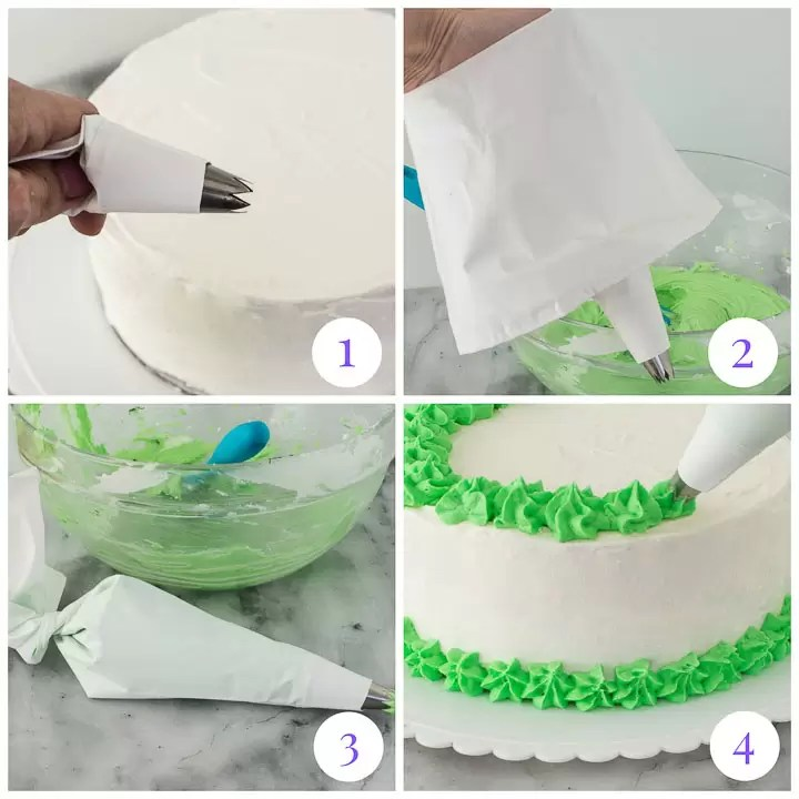 how to use a piping bag in four steps