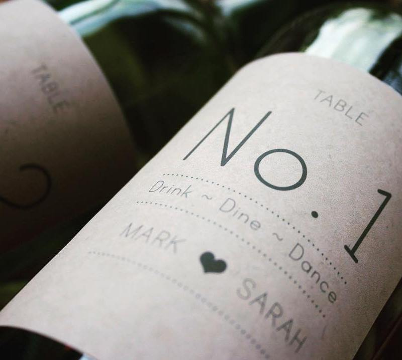 personalised wine label for weddings - Table number rustic industrial design